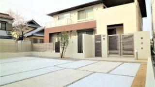 岡崎市エクステリア外構広いお庭とモダンな門構えのナチュラル新築外構