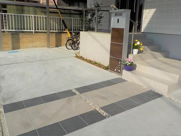 タイルを素材に使ったアプローチ|愛知県安城市を中心に三河地区№1スタッフ数のエクステリア・外構 ライフ・ランド
