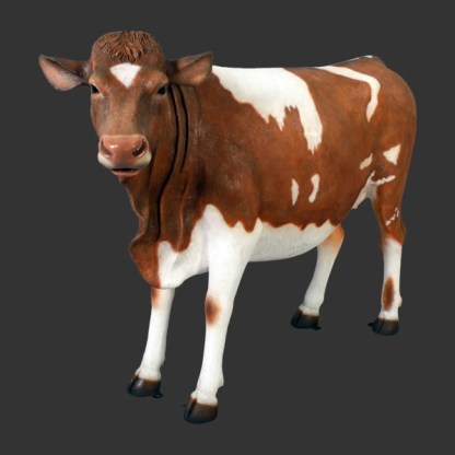 Guernsey Cow 3D Realistic Life Size Cow Statue