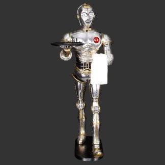 Walking Robot Waiter Silver 3D Realistic Figure