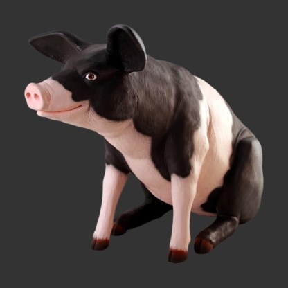 Fat Pig Black and Pink 3D Realistic Life Size Statue