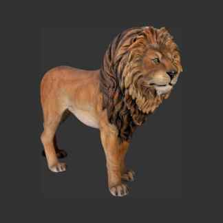 Lion King Standing 3D Realistic Life Size Wild Animal Statue