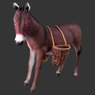 Donkey with Basket 3D Realistic Life Size Farmyard Animal Statue