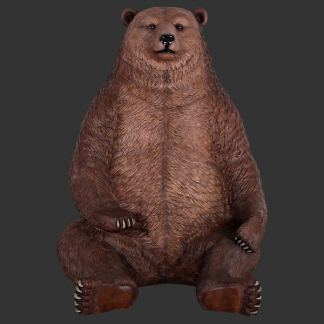 Giant Grizzly Bear Seat 3D Realistic Wild Animal Statue