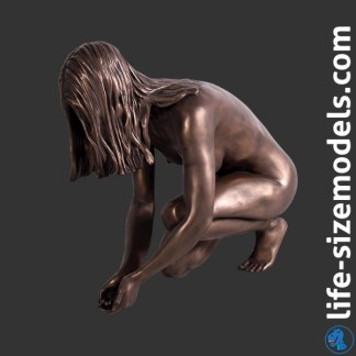 Lady Lake Figure Bronze Effect Woman Crouching Model
