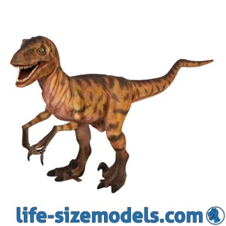 Orange Deinonychus Statue