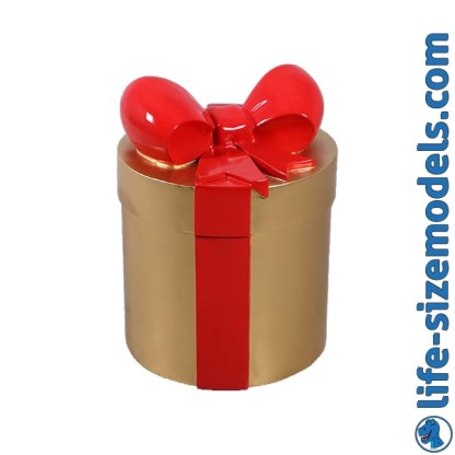 Gold & Red Gift 3D Realistic Lifesize Model