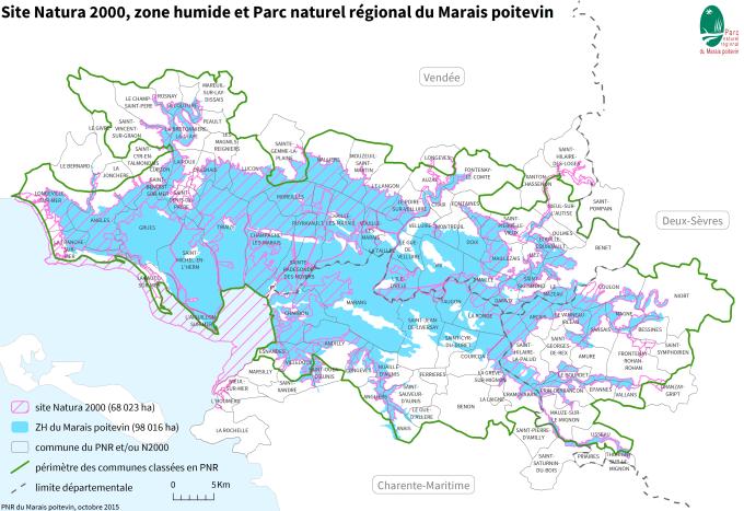 Carte du site Natura 2000, de la zone humide et du Parc naturel régional du Marais poitevin