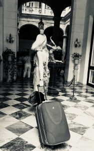 Samantha Walsh with suitcase
