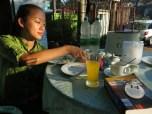 Having 1st breakfast in Yangon