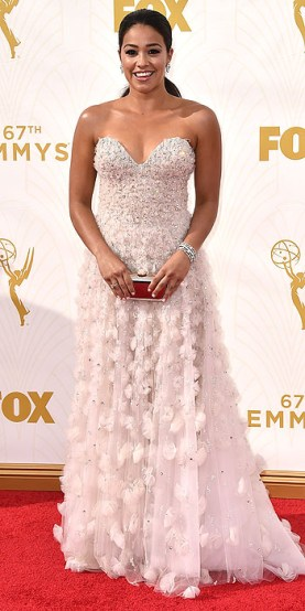 Gina Rodriguez arrives at the 67th Primetime Emmy Awards on Sunday, Sept. 20, 2015, at the Microsoft Theater in Los Angeles. (Photo by Jordan Strauss/Invision/AP)