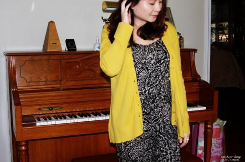 Printed Jumpsuit & Mustard Cardigan