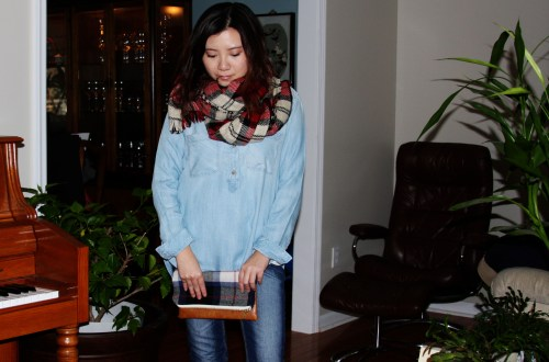 Chambray & Plaid Blanket Scarf