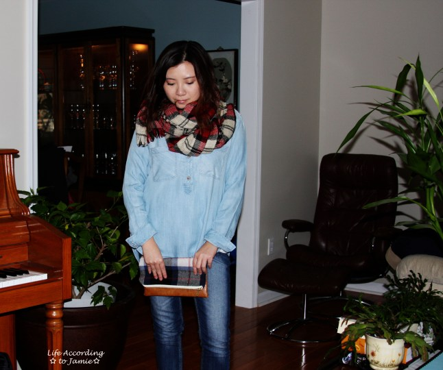 Chambray & Plaid Blanket Scarf 1
