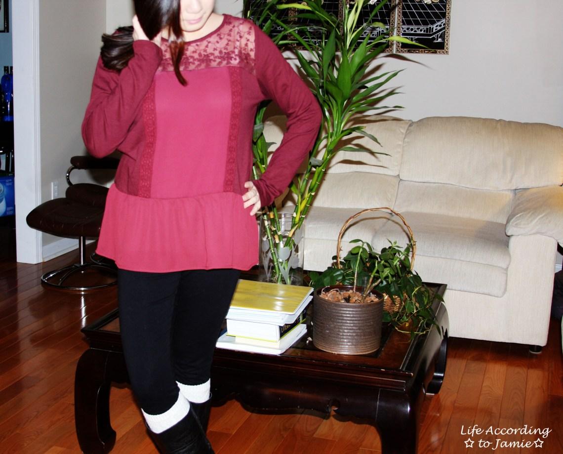 Red Lace Yoke Peplum