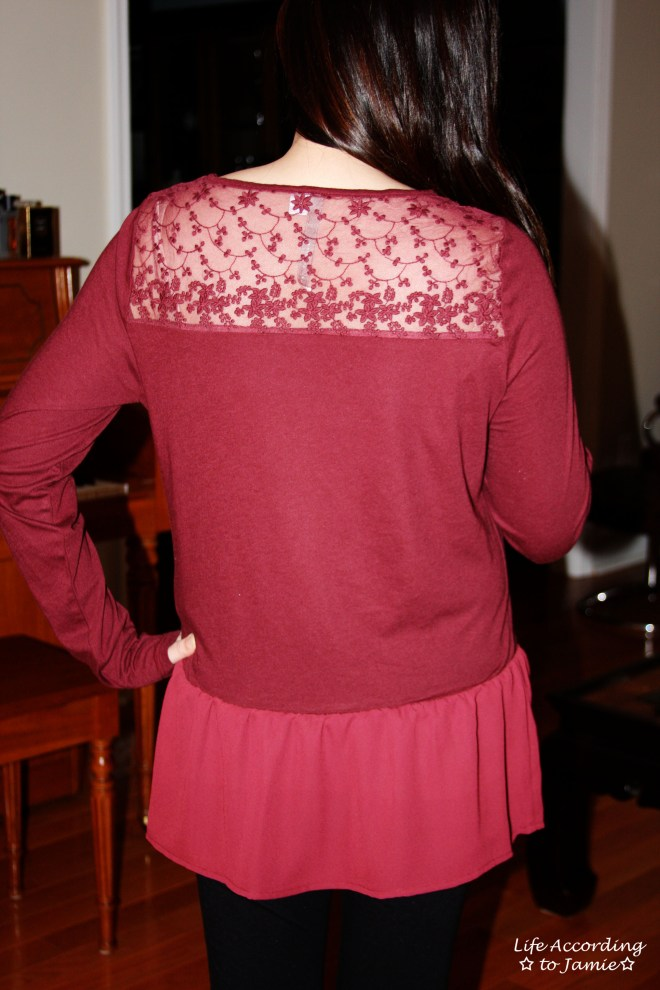 Red Lace Yoke Peplum 4