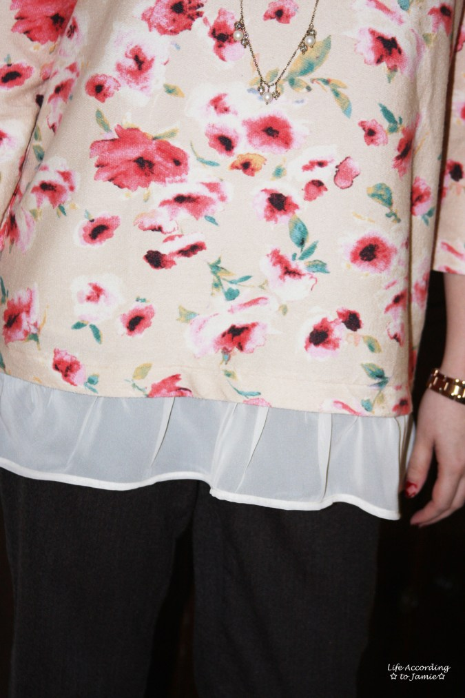 Pink Floral Layered Sweater 2