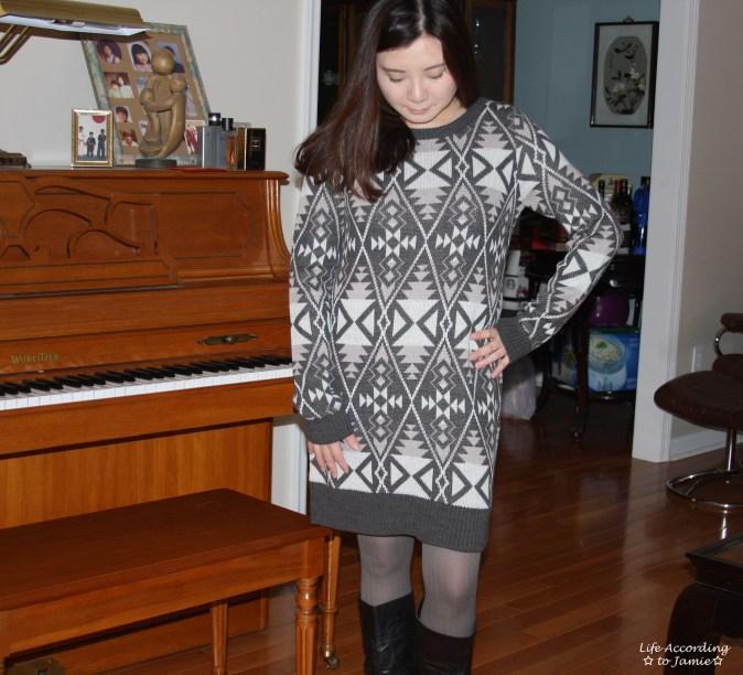 Aztec Print Sweater Dress 1
