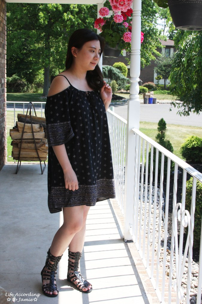 Patterned Off the Shoulder Dress 1