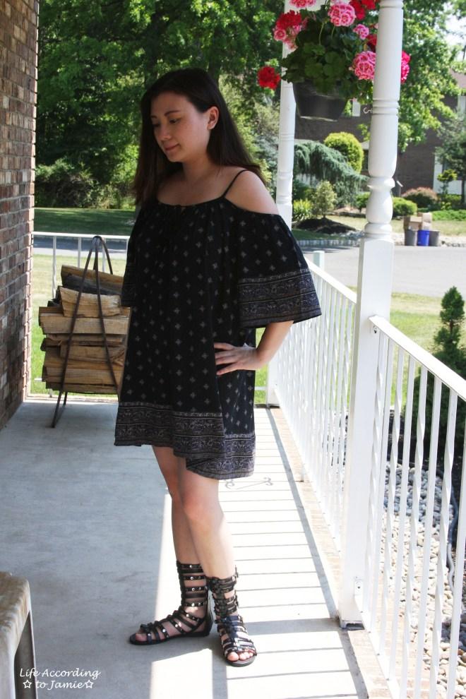 Patterned Off the Shoulder Dress