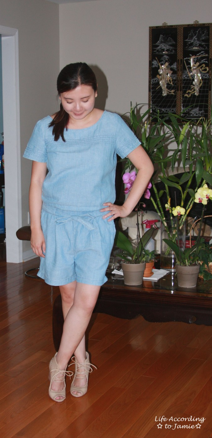 Chambray + Lace Up Wedges 1