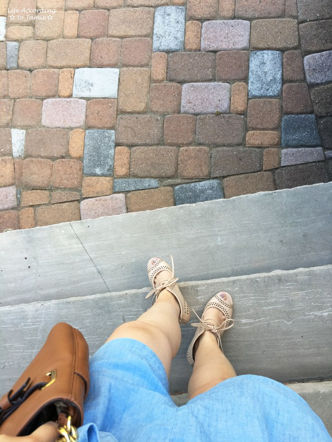 Chambray + Lace Up Wedges 3