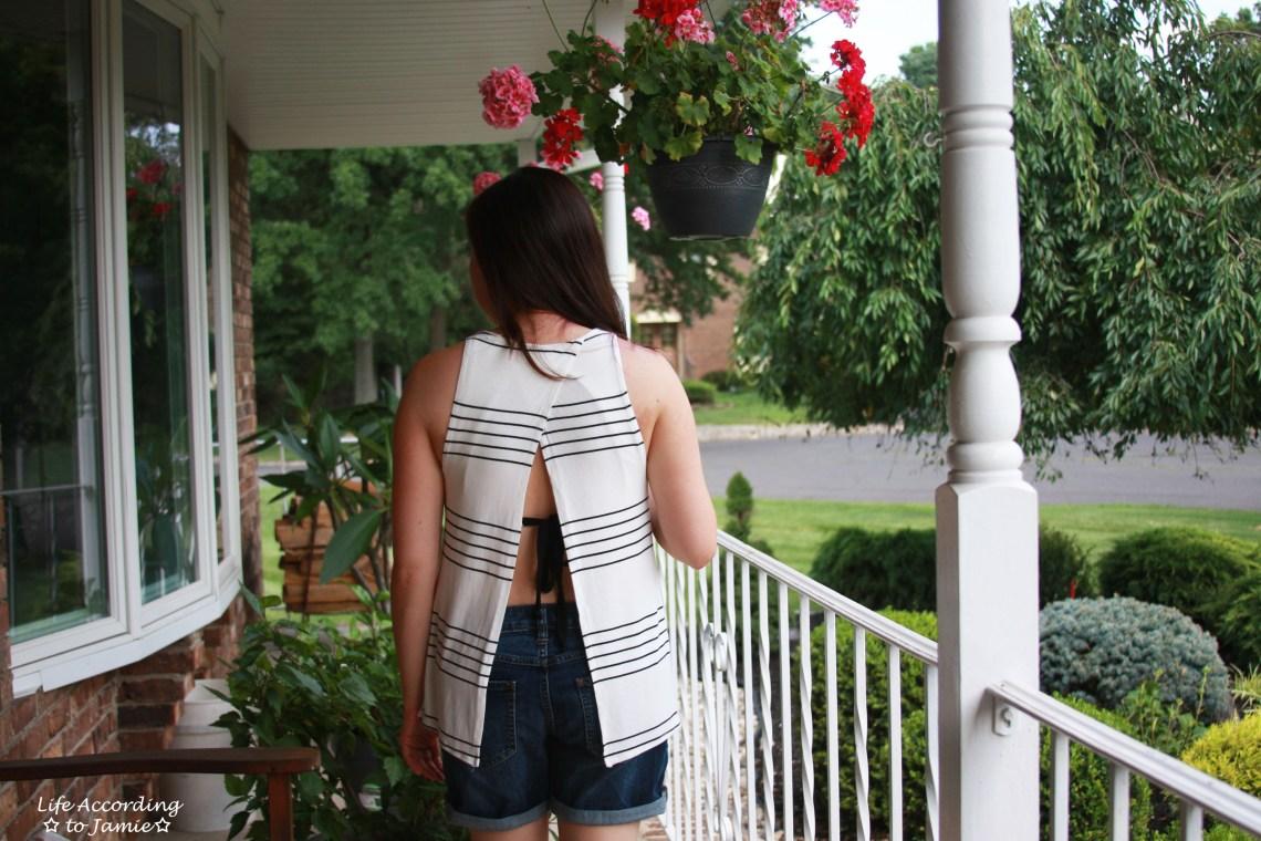 Striped Open Back Tank
