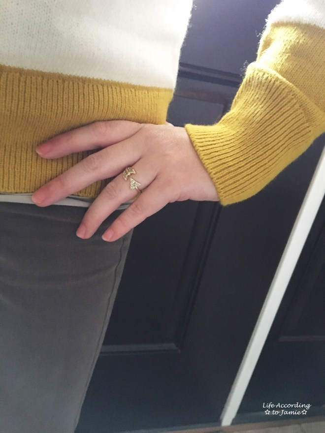 chartreuse-striped-sweater-gold-arrow-ring