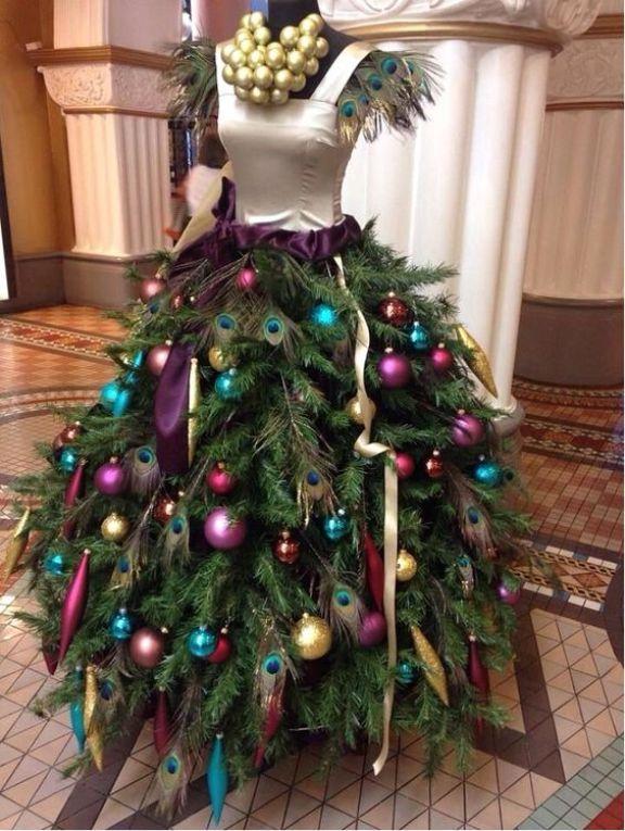peacock mannequin christmas tree dress - Peacock Christmas Tree