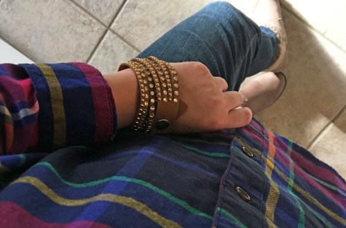 rainbow-plaid-stud-double-wrap-bracelet