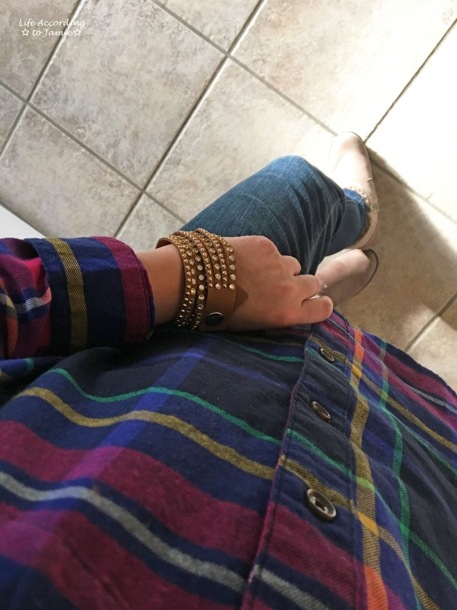 rainbow-plaid-saddle-stud-double-wrap-bracelet