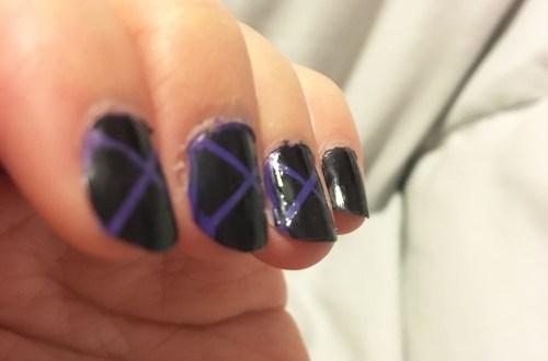 Black & Purple X Nails