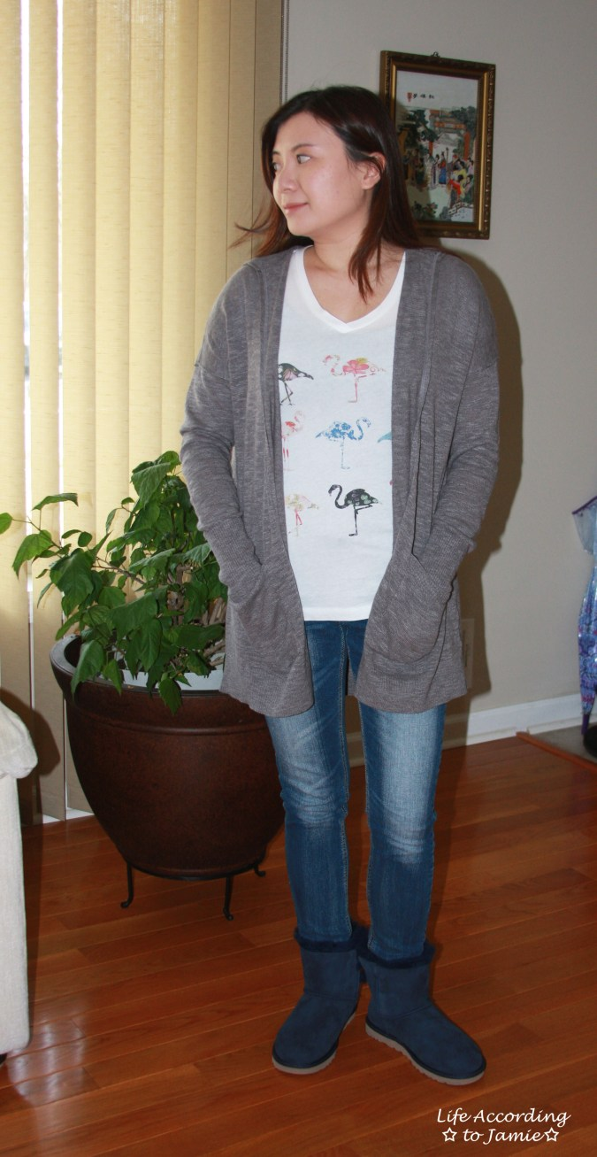Hooded Cardigan + Flamingo Tee 1