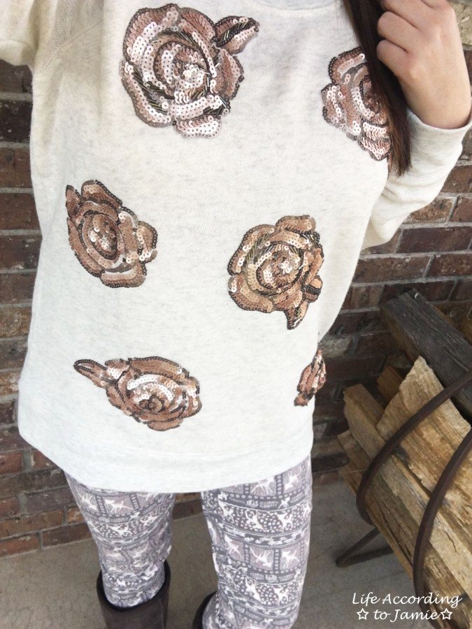 Rose Gold Roses + Deer Print Leggings 1