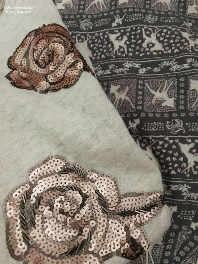 Rose Gold Roses + Deer Print Leggings