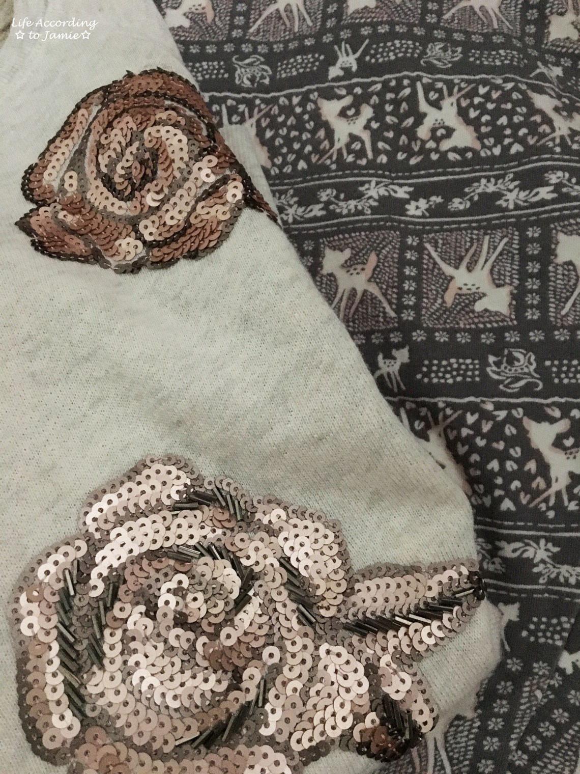 Rose Gold Roses + Deer Print Leggings