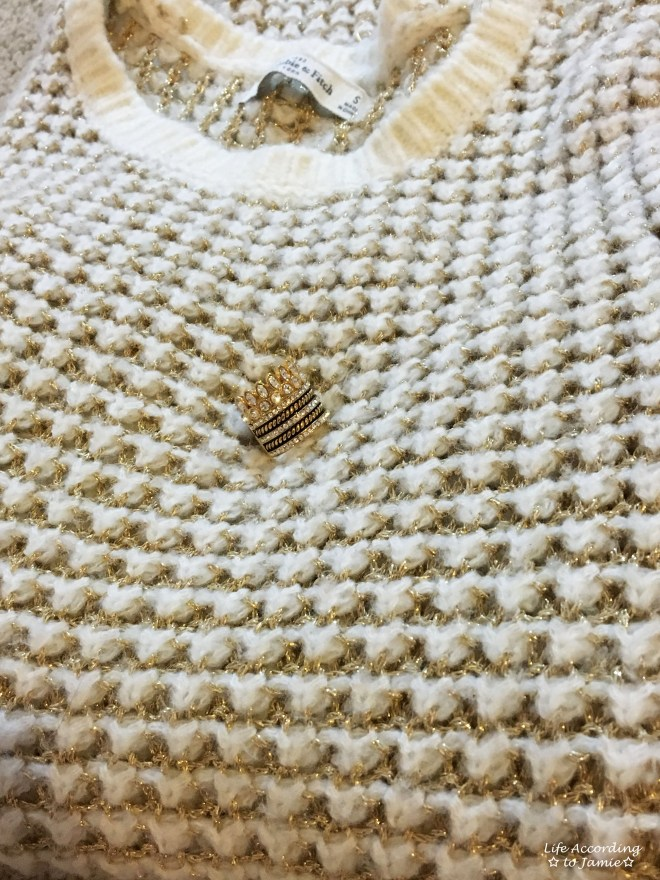White & Gold Knit Sweater + Gold Ring Stack