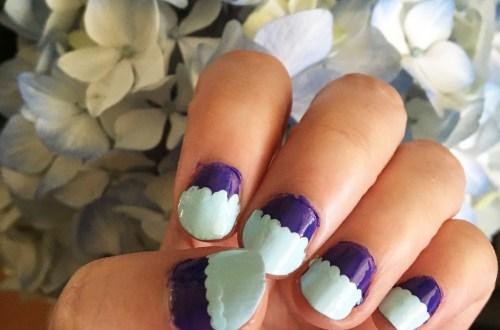 Mint & Purple Scalloped Nails