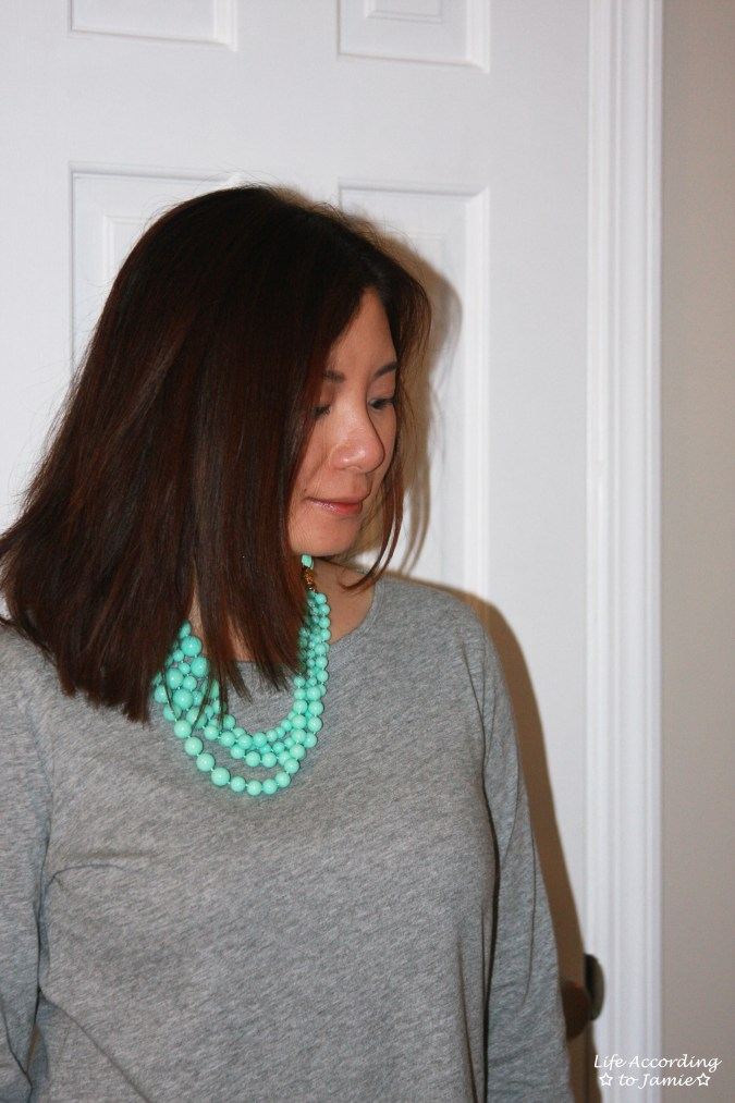Grey Peplum + Mint Beads 2