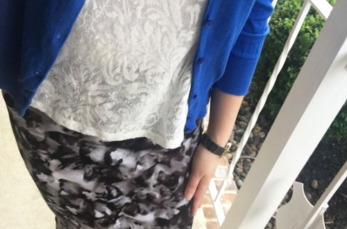 Lace + Scuba Knit Skirt