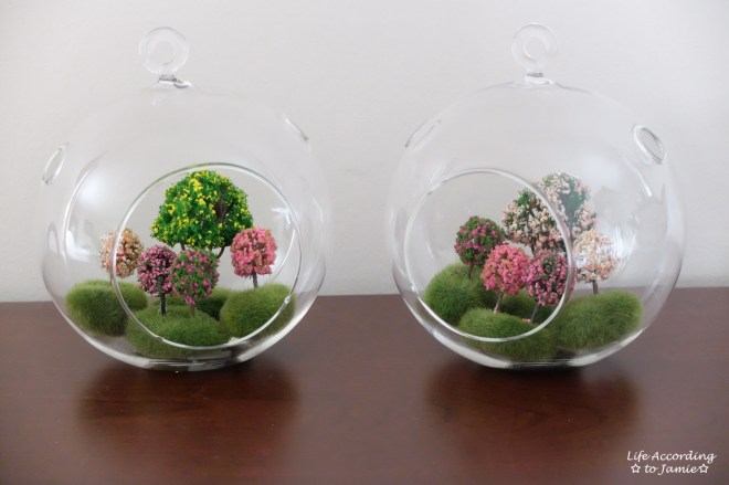 Mini Faux Flowering Tree Globes 2