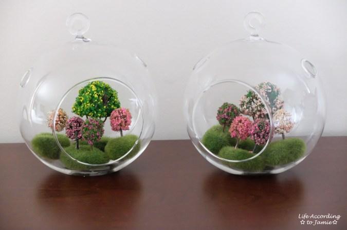 Mini Faux Flowering Tree Globes 2