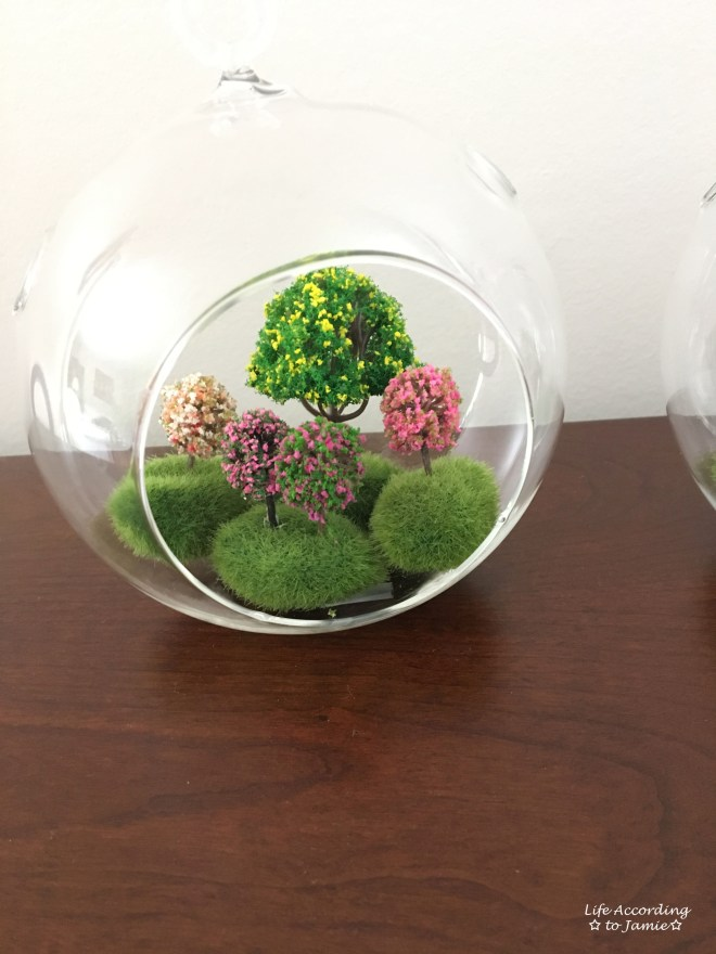 Mini Faux Flowering Tree Globes 3