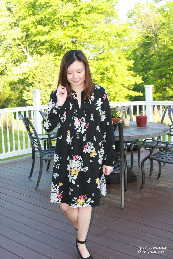 Dark Floral Shirt Dress 4