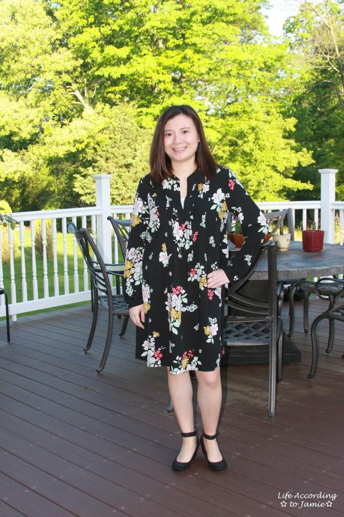 Dark Floral Shirt Dress