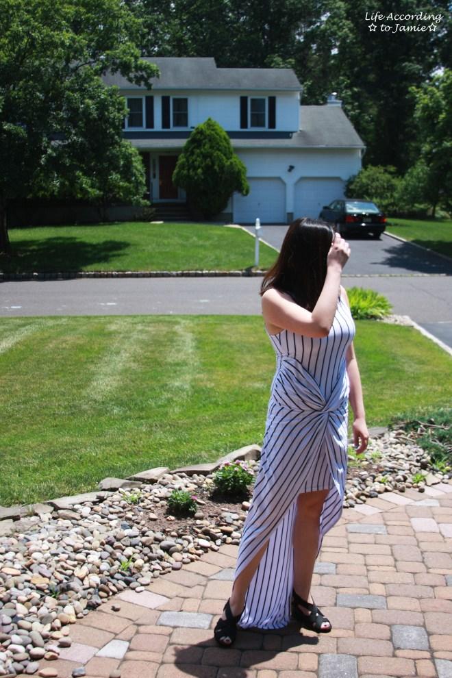 Striped Knot Twist Dress 1