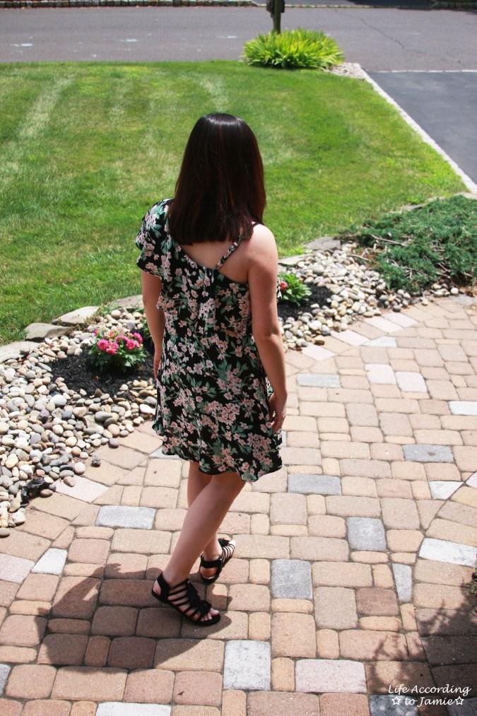 1-Shoulder Ruffled Floral Dress 2