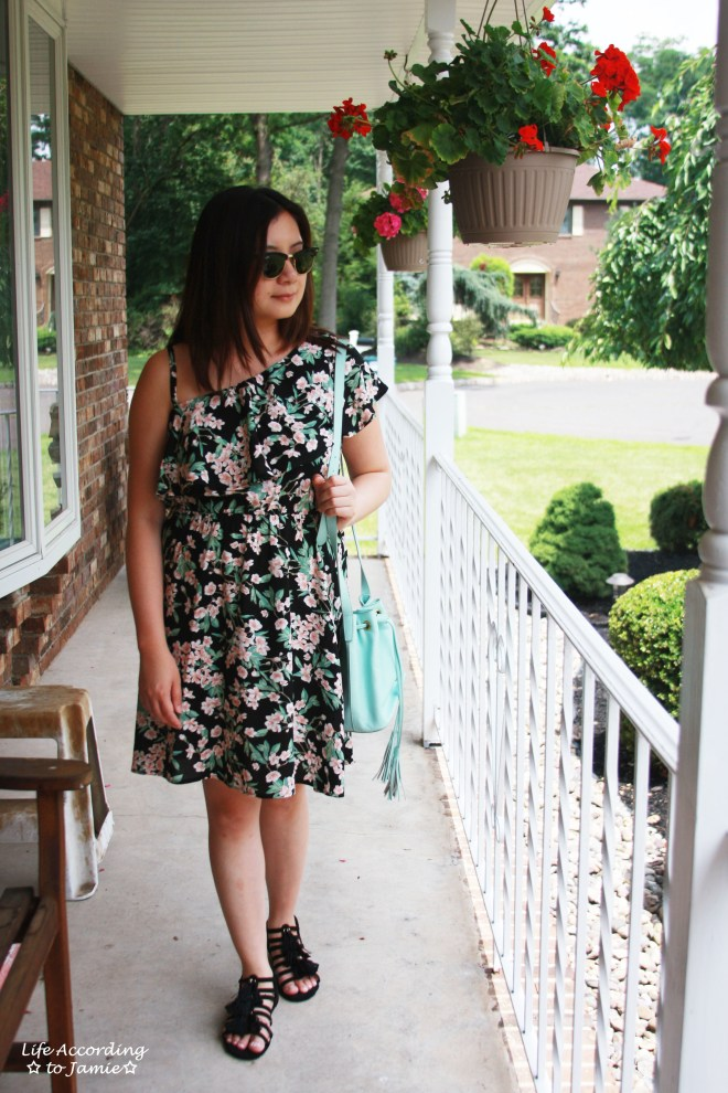 1-Shoulder Ruffled Floral Dress + Mint Bucket Bag 1
