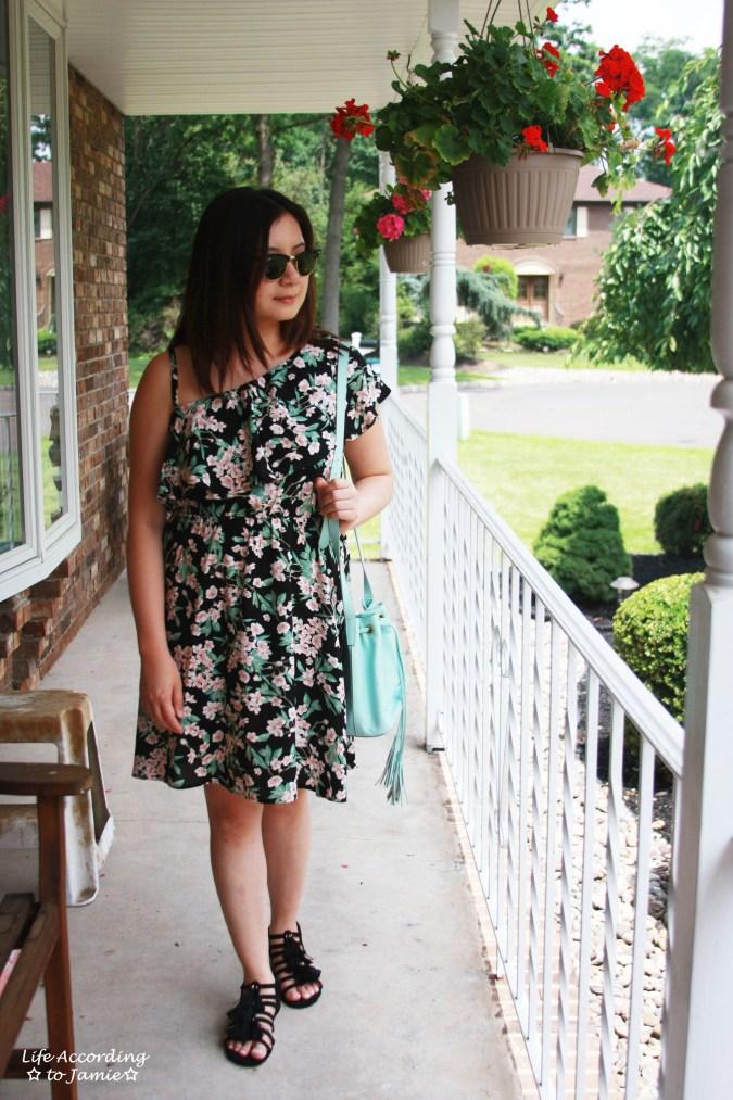 1-Shoulder Ruffled Floral Dress + Mint Bucket Bag 1