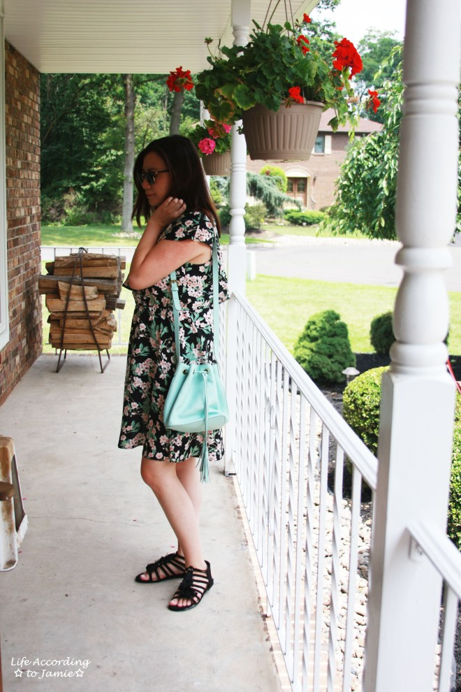 1-Shoulder Ruffled Floral Dress + Mint Bucket Bag